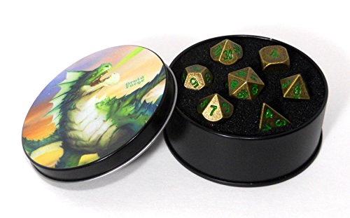 Metal Dice Polyhedral Set of 7 Dark Forest Bronze D&D RPG Ancient Bronze with Green numbers ()