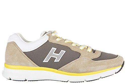 new concept 0357a 4fe8a Chaussures Hogan Hommes Chaussures En Daim Sneakers H254 H Flock T2015 Beige