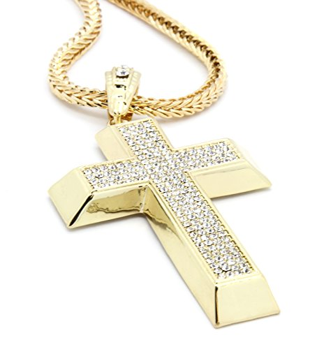 Men's Gold Tone Iced Out Cross Pendant Hip-hop 4mm 30