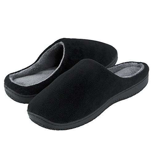 Mens Memory Foam Slippers with Arch Support and Rubber Sole Indoor Outdoor House Shoes (Large 10.5-11.5 D(M) US, Black)