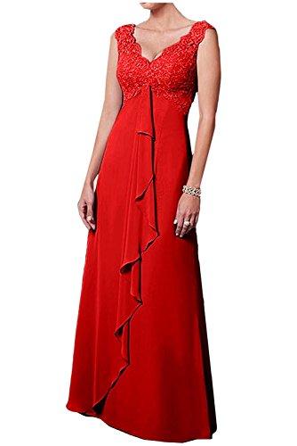 Ballkleider A Weiss Abendkleider mia Damen Rock Spitze Chiffon Rot V La Herrlich Linie Brautmutterkleider Braut Ausschnitt Langes xw8WpHnRAq