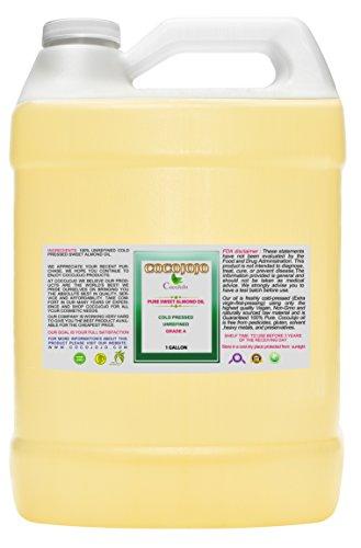 Sweet Almond Oil - Face Skin Hair Cold Pressed 1 gallon Natural Pure Massage Extra Virgin Unrefined Premium Grade