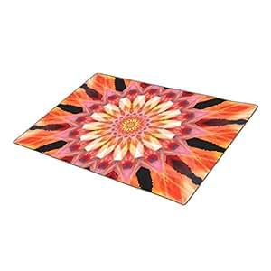 Eryoubs Decorative Door Mats fractalized sunrise Mandala Personalized Door Mat