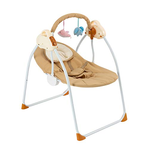 Rocking Cradle Baby Bassinet-Automatic Baby Basket Electric Rocking Multifunction Baby Swing Cradle Bed,Portable Bassinet Cradle Infant-to-Toddler Rocker with Remote , Music, Adjustable Speed(Khaki)