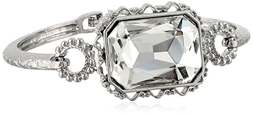 1928 Jewelry Silver-Tone Crystal Faceted Rectangle Clasp Bangle Bracelet, 3