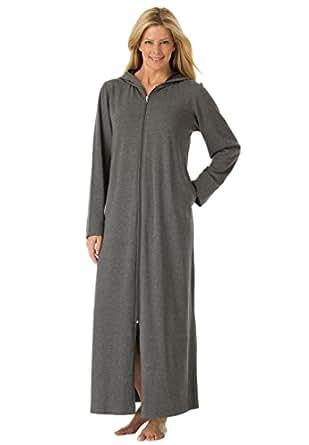 Dreams & Co. Women's Plus Size Long Fleece Hooded Robe Heather Charcoal,L