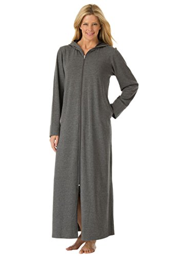 Le Top Hooded Robe (Dreams & Co. Women's Plus Size Long Fleece Hooded Robe Heather Charcoal,4X)