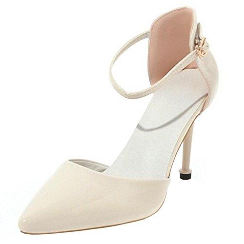 TAOFFEN Women Beige Toe Party 9 Pointed Elegant Shoes rrWwzndqC