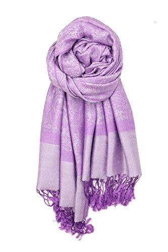 Achillea Two Tone Vintage Jacquard Paisley Pashmina Shawl Wrap Scarf (Lavender Purple) ()