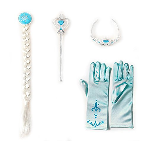 [EzLife Elsa Tiara Crown Wig Wand Blue Gloves Set of 4 Cosplay Accessories Blue Small] (Elsa Costume With Wig)