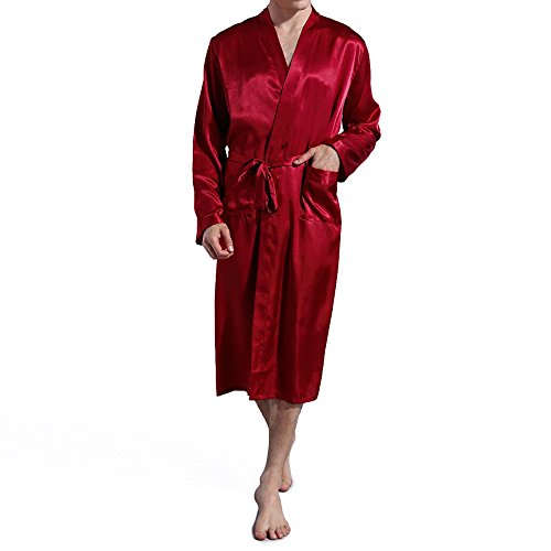 3f4a15a493 Amzchoice Men V Neck Satin Robe Kimono Long Bathrobe Lightweight Sleepwear  Wedding
