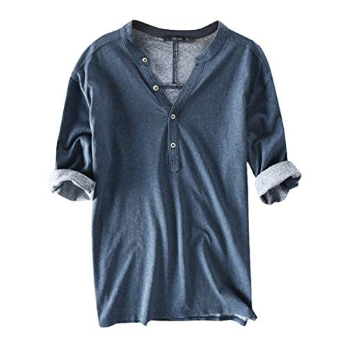 ASOBIMONO Men's V Neck Cotton T-Shirt Button Down Half Sleeve Henley Shirts Basic Casual Tees Solid Breathable Tops Blue
