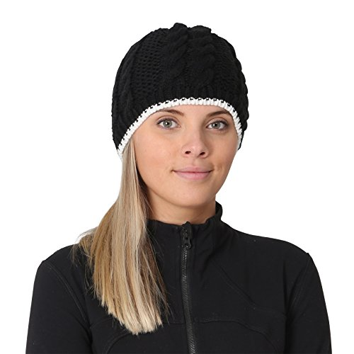 TrailHeads Women's Cable Knit Beanie with Fleece Lining - black / wintry (Storm Ear Warmers)