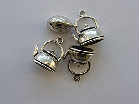 BULK 30 Kettle charms antique silver tone FD253