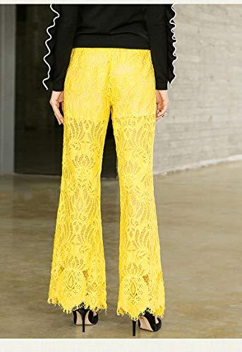 Elástico Cordón De Pantalones Ocasionales Remiendo Gotfeelin La Yellow Sueltos Mujeres Las Para Del Cintura xaYq1t81w