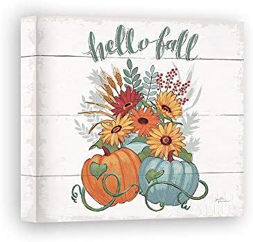 Impresión sobre Lienzo Wall Art Penner Janelle Fall Fun II - Gray and Blue Pumpkin: Amazon.es: Hogar