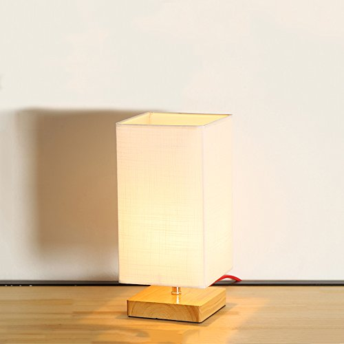 (KMYX Modern Solid Wood Table Lamp Bedroom Bedside Lamp Living Room Coffee Table Desk Lights Halloween (Color : Button)