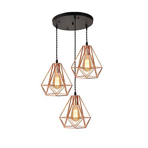 Vintage Industrial Metal Bird Cage Pendant Light Diamond Type Loft Restaurant Coffee Bar Chandelier (Rose Gold),disc