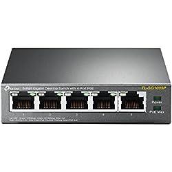 TP-Link TL-SG1005P 5-Port Gigabit Ethernet PoE Desktop Switch with 4-PoE Ports, 55W