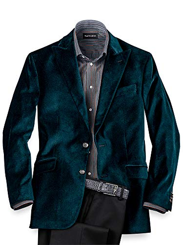 Paul Fredrick Men's Classic Fit Velvet Solid Peak Lapel Sport Coat