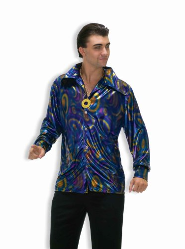 Forum Novelties Men's Plus-Size 70's Disco Plus Size Dynamite Dude Costume Shirt, Purple/Gold/Blue, X-Large (Couples Plus Size Costumes)