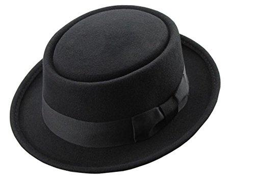 Men's Crushable Wool Felt PorkPie Fedora Hats Black DTHE09 (L/XL) (Pork Pie Hat)