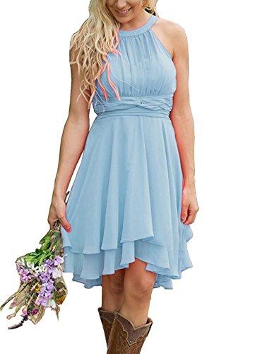 XingMeng A Short Bridesmaid Prom Homecoming Blue Dresses Chiffon Halter Line Light rxr5Cdqaw