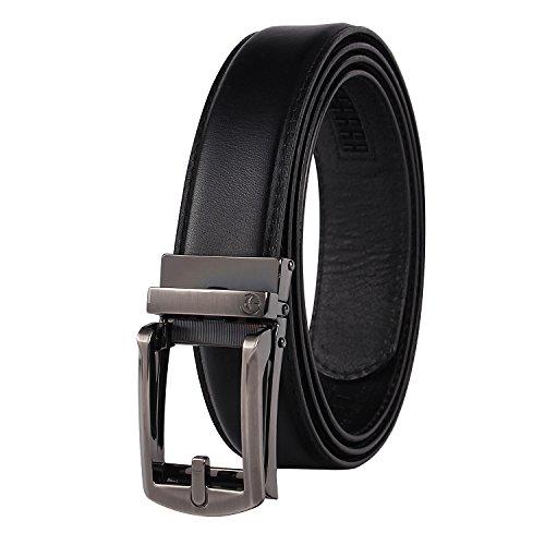 NPET AT010 Men's Full Grain Ratchet Click Belt Luxury Genuine Leather Dress (Leather Slip Belt)