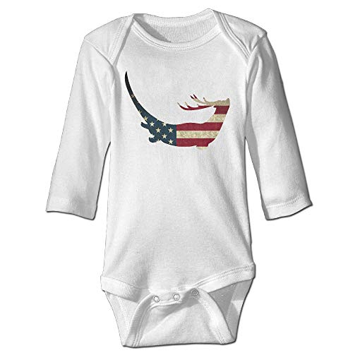 (Q98BABY Baby Infant Toddler Long Sleeve Climb Jumpsuit Otter Reindeer USA Flag Print Jumpsuit Onesie)