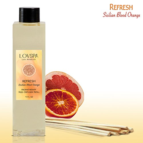 LOVSPA REFRESH Sicilian Blood Orange Reed Diffuser Oil Refill with Replacement Reed Sticks | Energizing Grapefruit & Bergamot Fragrance Oil with Sticks Creates a Cheerful Atmosphere