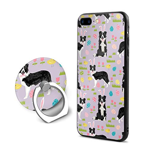 (Border Collie Spring Fabric Easter - Mixed Coats Easter Egg Purple iPhone 7 Plus Case, iPhone 8 Plus Case, and Ring Stand Holder Full Protective Shockproof Cover Case for iPhone 8 Plus/iPhone 7 Plus)