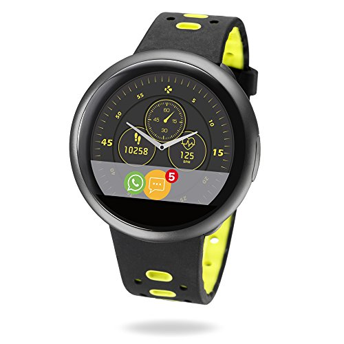 MyKronoz ZeRound2 HR Premium Smartwatch with Heart Rate Monitor - Brushed Black/Black and Yellow Silicone Band by MyKronoz