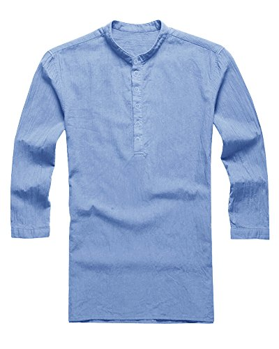 PASLTER Mens V Neck Cotton Linen Hippie Shirts Long Sleeve Casual Henley T-Shirt Top (X-Large, A-Blue) by PASLTER (Image #1)