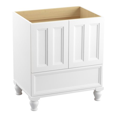 (KOHLER K-99516-LG-1WA Damask Vanity with Furniture Legs and 2 Doors and 1 Drawer, 30-Inch, Linen)