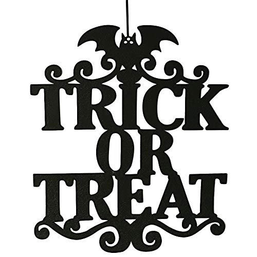 Barlingrock Trick or Treat Hanging Sign Halloween Decor Door and Wall Hanging Sign Halloween Decoration for Home,School,Outdoor,Halloween Party Decorations(B)]()