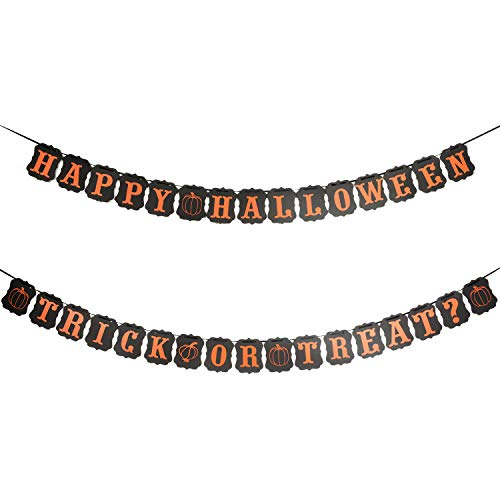 Halloween Banner Set - Happy Halloween Banner and Trick Or Treat Banner Garland Home Wall Décor Photo Props Party Supplies ()