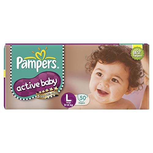 Pampers Active Baby Diapers Taped Large Size 50 Pieces