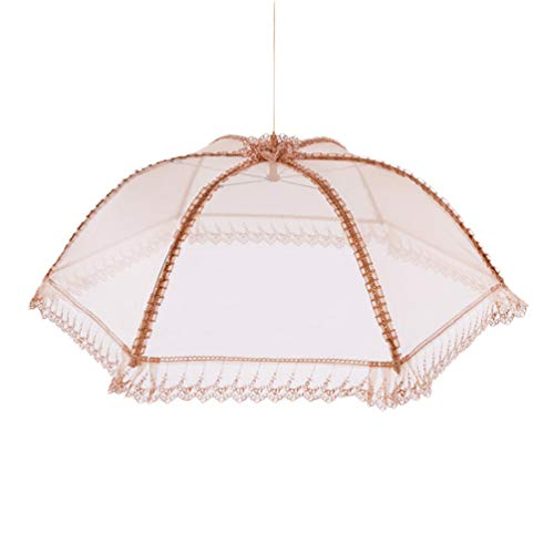 Lace Food Cover Folding Food Covers Gold Fly Mosquito Net Tent Food Umbrella Cover Round Food Cover Mesh Screen Food Cover for Covering Food