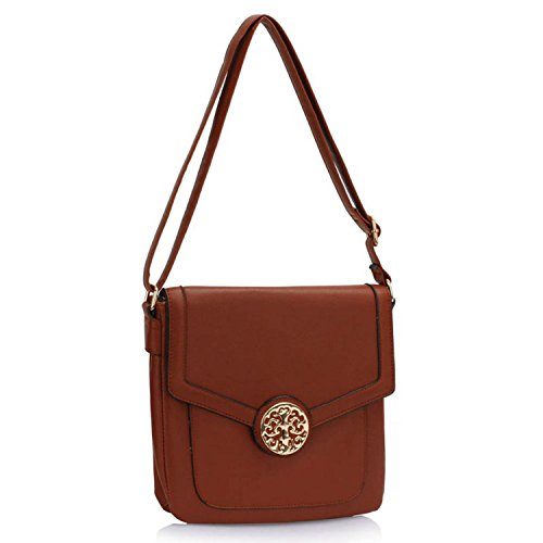 Xardi London Flora tamaño mediano Cruz Cuerpo bolsas de piel sintética mujeres niñas bolso de bolsos de hombro marrón