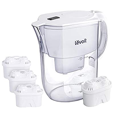 LEVOIT Pitcher, 10 Cup Large Water Purifier (BPA-Free) with 4 Filters & Electronic Filter Indicator, 5-Layer Filtration for Chlorine, Lead, Heavy Metals and Odor, 2-Year Warranty