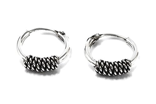 925 Sterling Silver Tribal Bali Earring Hoops Cartilage 3/8