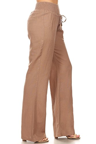 April Apparel Inc. Via Jay Women's Casual Relaxed-Fit Wide Leg High Waist Pants (Large, Mocha)