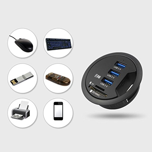 USB 3.0 HUB Adapter with SD Card Multifunctional 3-Port Power Adapter Smart Cellphone Laptop Charger Hub Outlet Plugs Adapters for Phone PC/Tablet Mount In Desk by Pausseo by Pausseo Adapter (Image #4)