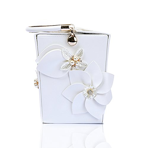 bucket bag female PU shoulder wallet evening dinner bag White bag bag bag flower WUHX evening wedding handbag diagonal aPxwqBUFBg