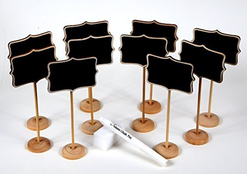 10 Piece Mini Rectangle Chalkboard Stands / Signs, White Liquid Chalk Pen & Erasing Sponge, use for Weddings, Parties, Table Numbers or Place Cards