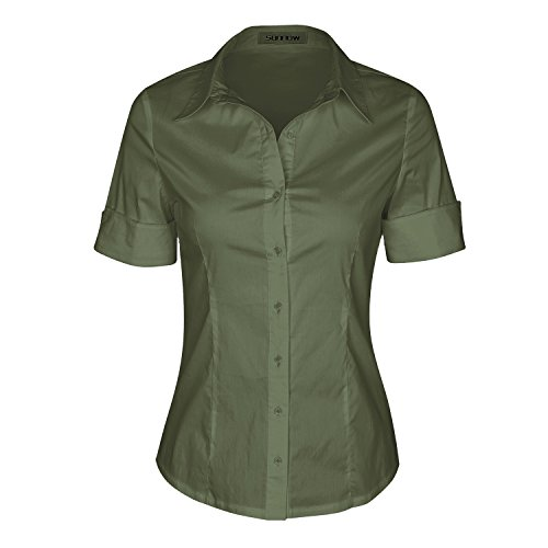 SUNNOW Womens Tailored Short Sleeve Basic Simple Button-Down Shirt with Stretch (2XL, Army Green) ()