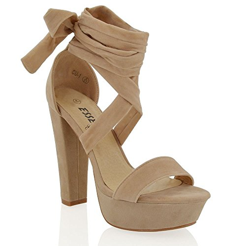 Heel Strappy Ankle Wrap Platform (Essex Glam womens nude faux suede tie up high block heel sandals 9 B(M) US)
