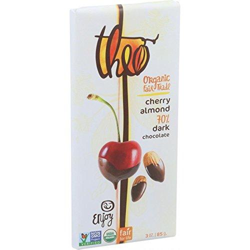 Theo Chocolate Organic Chocolate Bar - Classic - Dark Chocolate - 70 Percent Cacao - Cherry and Almond - 3 oz Bars - Case of 12-95%+ Organic - Dairy Free -