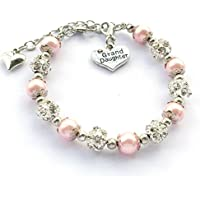 DOLON Granddaughter Bracelet Gift with Rhinestone Crystal Balls Faux Pearls Jewelry-3 Color