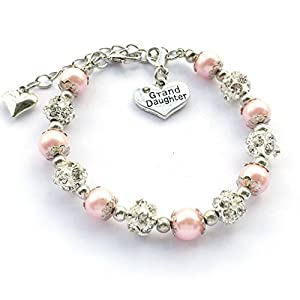 DOLON Granddaughter Bracelet Gift Rhinestone Crystal Balls Faux Pearls Jewelry-3 Color